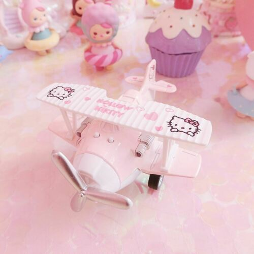Cute Pink Hello Kitty Plane Model Mini Airplane Glider Toys Collection Kids Gift