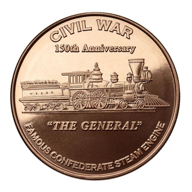 """1 OZ COPPER ROUND CIVIL WAR /""""THE GENERAL/"""" CONFEDERATE STEAM ENGINE"""
