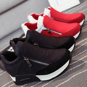 2 Colors Fashion Casual Donna Scarpe da da da Ginnastica Zip Wedge Hidden Heel In esecuzione 5a314c