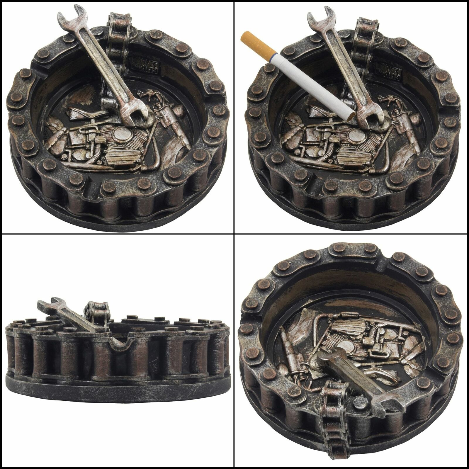 Decorative Motorcycle Chain Ashtray with Wrench and Bike Motif Great for a Biker Bar /& Harley Mechanics Shop Smoking Room Decor As Unique for Men or Smokers