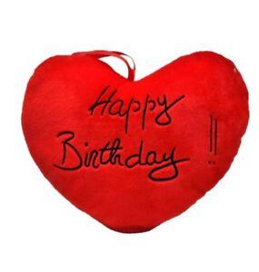 Herzkissen Happy Birthday Geburtstag Herz Rot Mit Aufschrift 36 X 30