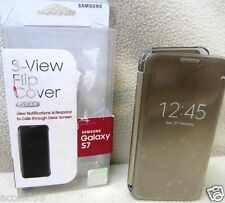 Samsung Galaxy S7 S-View Flip Cover Clear Gold OPEN BOX EF-ZG930CFEGUS