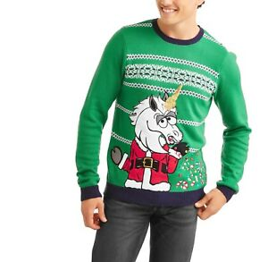 Mens R1 Sparkles 2xl Green Ugly New Vomiting Jolly Christmas Unicorn Sweater pwOgqWF