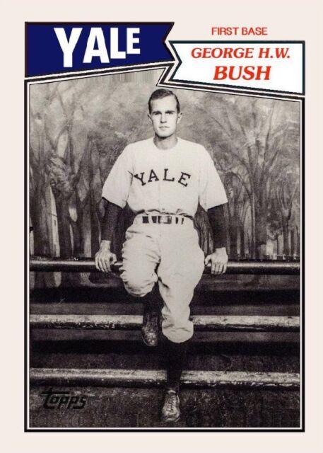 George H W Bush Custom Yale Baseball Card Of 41st President Of The