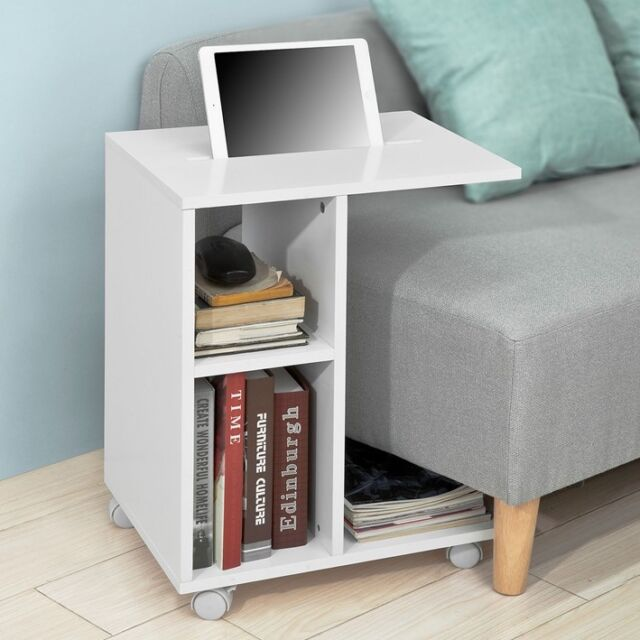 Sobuy White Coffee Sofa Side End Table On Wheels With Storage
