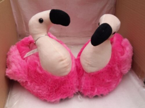 Pili Pala Soft Pink Flamingo Luxury Velour Fun Novelty Slippers
