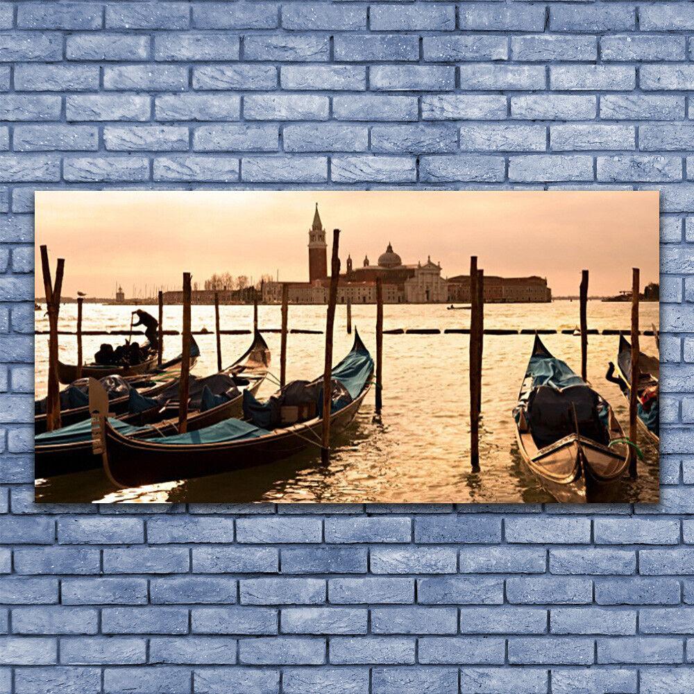 Glas Drucken Wand Kunst 140x70 Image Bild Boats Sea Landscape