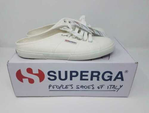 NEW WOMEN/'S SUPERGA FOR J CREW 2288 VCOTW SLIP ON WHITE MULE SNEAKERS SHOES