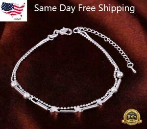 925 Sterling Silver Women's Star Chain Bead Elegant Anklet Ankle Bracelet D613B