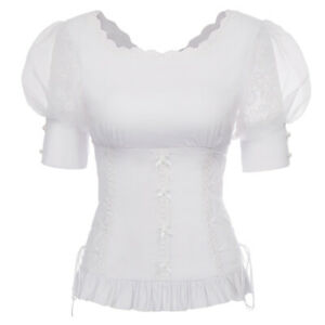 Plus-Womens-Tops-Gothic-Steampunk-Lace-Up-Victorian-Puff-Sleeve-Slim-Top-Blouse