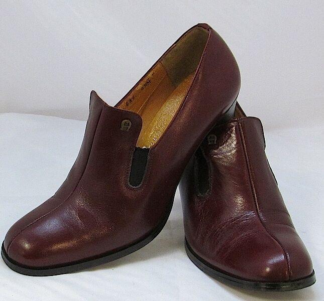 vieni a scegliere il tuo stile sportivo Vintage 1970s 1970s 1970s Boho Low Stack Heel Oxblood Pumps  Aigner Logo 8.5  marchio in liquidazione