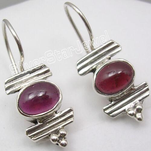 "925 Solid Silver Rare CABOCHON GARNET Handmade RETRO STYLE Earrings 1.3/"""