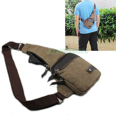 Men's Canvas Travel Hiking Riding Motorcycle Bike Messenger Sling Chest Bag