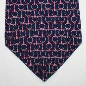 NEW-Brookville-Silk-Neck-Tie-Dark-Blue-Navy-with-Pink-Chain-Pattern-1006