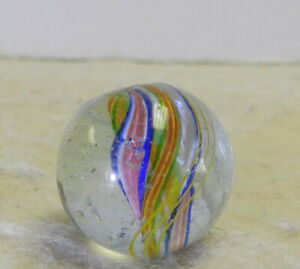 #12977m Vintage German Handmade Divided Ribbon Swirl Marble .59 Inches