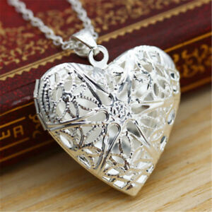 Women-Living-Memory-Float-Silver-Plated-Heart-Locket-Pendant-Chain-Necklace-Gift