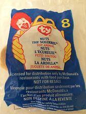 Ty teenie beanie baby Mc Donalds NUTS The SQUIRREL  # 8 Toy Animal  1999