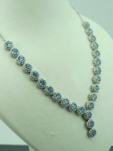 Turkish-Handmade-Jewelry-925-Sterling-Silver-Aquamarine-Stone-Ladies-039-Necklace
