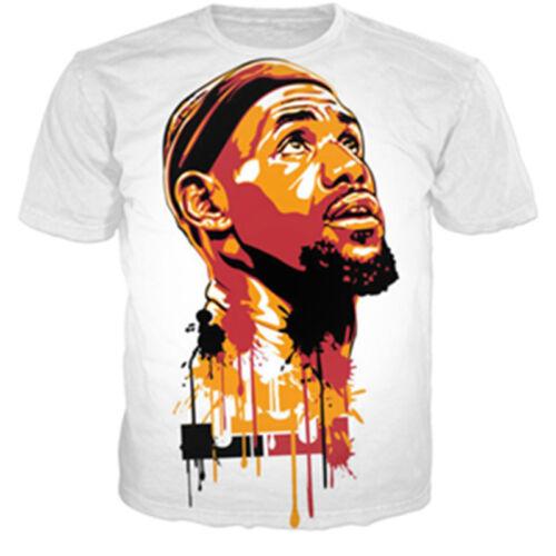 New Women Men Lebron James Paint Print Casual 3D T-Shirt Short Sleeve Tops Tee