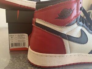 267e16e2b67 Air Jordan 1 Retro High OG BG Bred Toe Size 6.5y Black Varsity Red ...