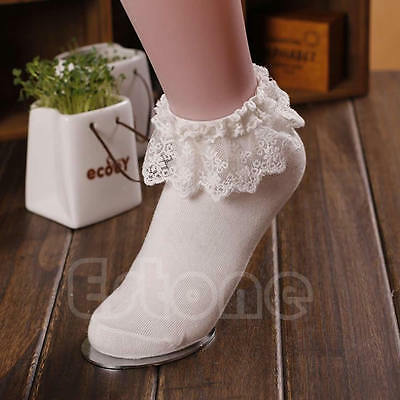 Princess Girl Cute Sweet Women Ladies Vintage Lace Ruffle Frilly Ankle Socks