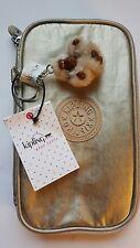 New ~ Kipling Kay Pen Pencil Case Cosmetic Pouch Gleaming Gold Metallic Reg. $39