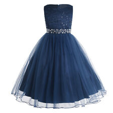 d3aa2afdf7fb Hk25 Girls Dress Sequin Mesh Party Wedding Princess Tulle Blue Size ...