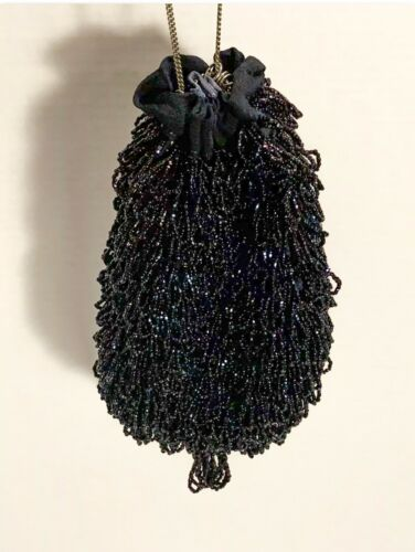Ornate Metal Holder Completely Beaded Evening Bag Aurora Borealis Kiss Latch Natural Echos Italian Chain Handle 1960s Covered w Beads