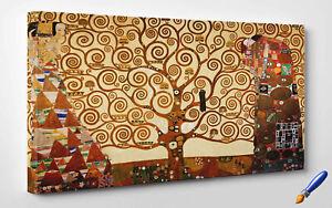 Quadro-Klimt-L-039-Albero-della-Vita-Stampa-Fine-Art-su-Tela-Vernice-Pennellate