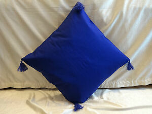 "cotton cushion cover pillow case blue 12"" square toss pillow cover throw"