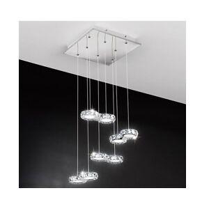 Lampadari Moderni Da Soffitto.Dettagli Su Lampadario Moderno Da Soffitto 8 Luci A Led Cristallo Plafoniera Sospensione