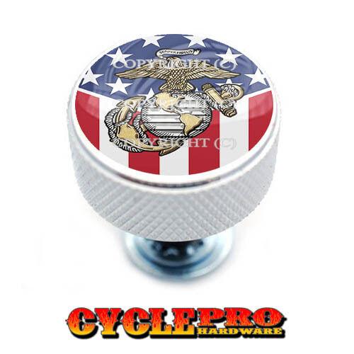 Chrome Knurled Billet Seat Bolt 96-UP Harley Touring  USMC USA FLAG 102