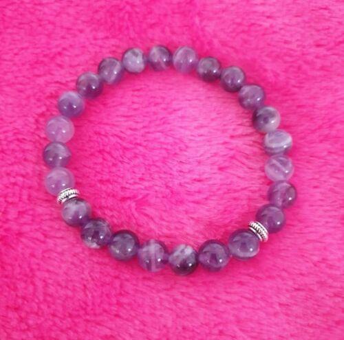 Amethyst Anxiety Stress Healing Bracelet Stone Beads Handmade Custom UK