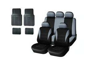 Neu-Auto-Sitzbezug-Schonbezuege-Schonbezug-Set-Grau-Fussmatten-Gummi-universal