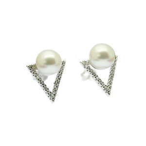Sterling Silver Pearl Triangle Stud Earrings Faux Diamond Inlay Cultured Pearls