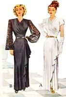 1946 Draped Evening Gown Pattern for Fashion Dolls