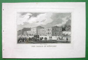 GERMANY-Munich-Bazaar-Building-Antique-Print-Engraving