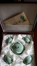 CHINESE CELADON porcelain TEA SET Teapot w/4 Cups New in its original wood box