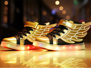 New Boys Girl kids LED Light Up Shoes Sneakers Wings Kids high Shoes ... 3c97ddd9f