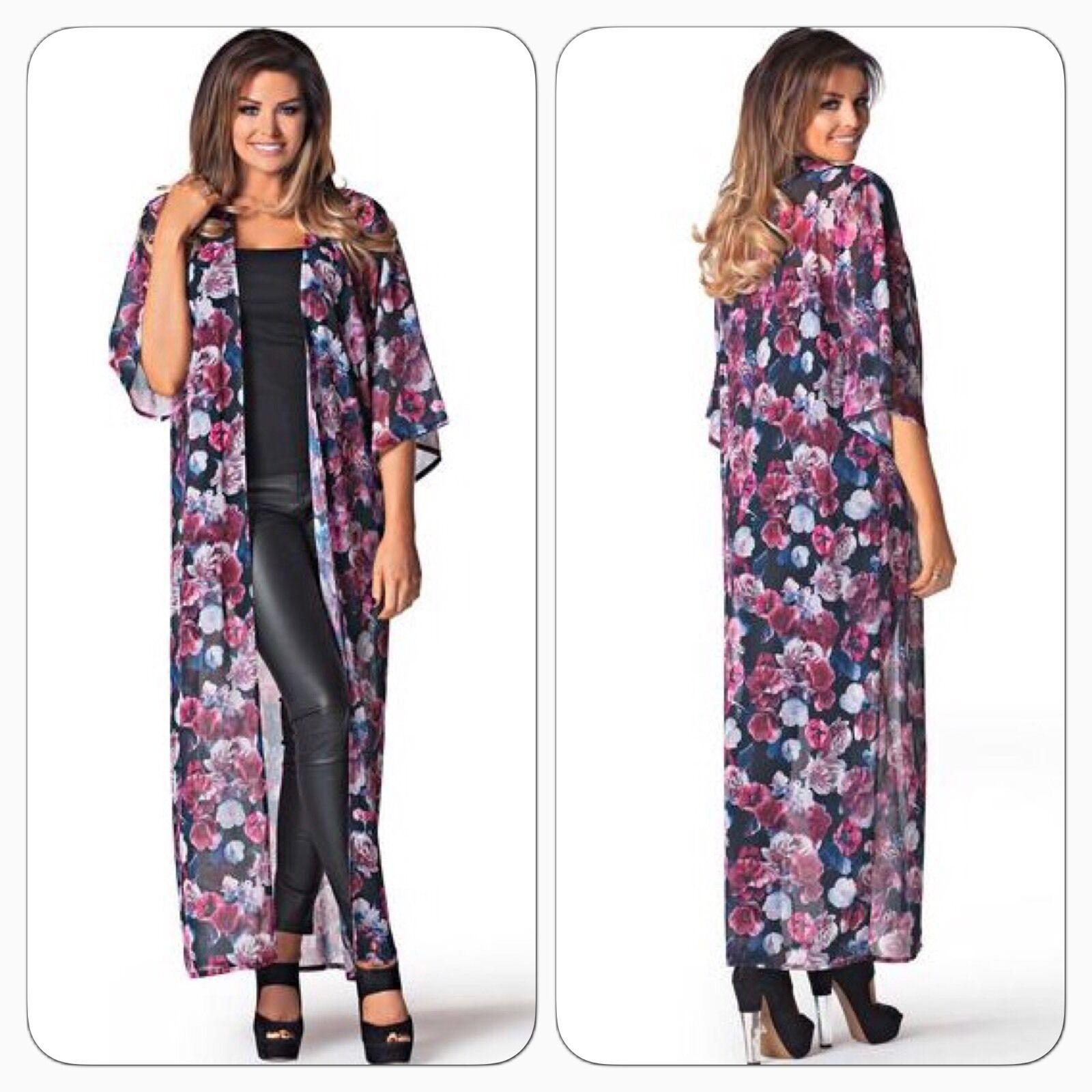 BNWT Jessica Wright Kimmy Long Line Dark Floral Print Evening Kimono S M 8 10 12