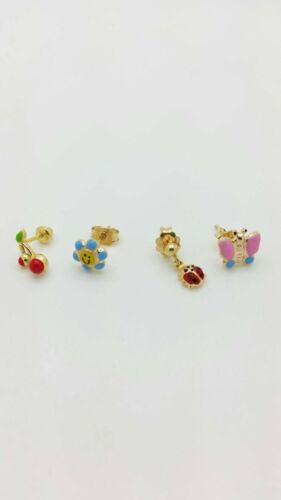 14K Solide Or Jaune Coccinelle Smiley papillon Cherry Stud Earring
