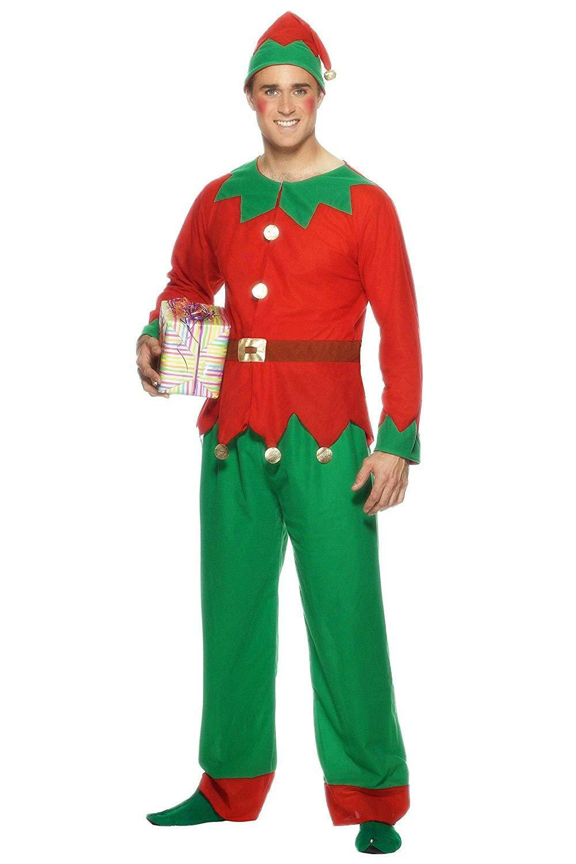 Elf Costume Unisex Men Adult Christmas Fancy Dress Santa Helper Xmas M-XL