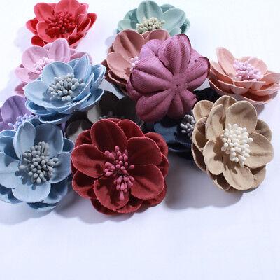 120pcs 5CM Solid Artificial Felt Flowers For Hair Accessories U Pick Color