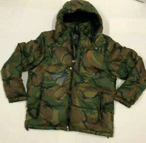 Mens Polo Ralph Lauren Camo Hooded Down Filled Puffer ...