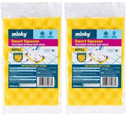X 2 Minky Smart Squeeze Texturé Sponge Mop Tête Recharges