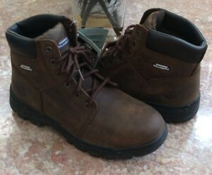 6e1aecd0b4b New Skechers Workshire Men s Dark Brown Leather Steel Toe Boots Size ...