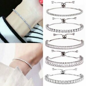 Fashion-Women-Zircon-Crystal-Cuff-Bangle-Adjustable-Chain-Bracelet-Jewelry-Gift