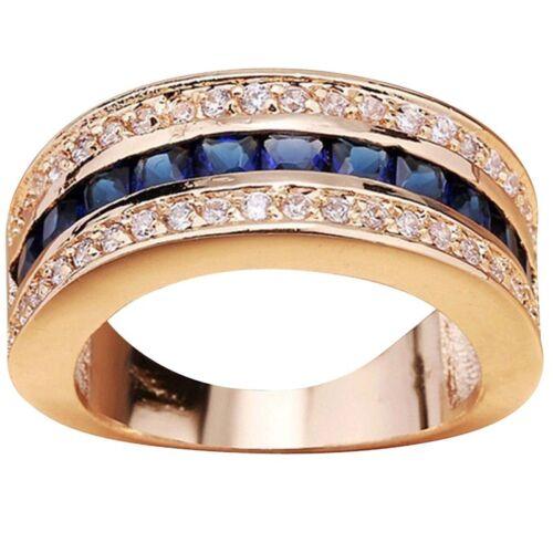 Taille 5-11 Argent or Bagues Diamant pour Femmes Mariage Fiançailles Cristal