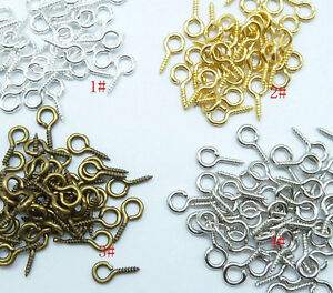 100Pcs Screw Eye Pins 8mm,9mm,10mm 13mm,15mm 4 colors for jewelry finding