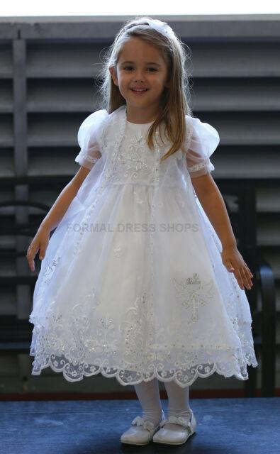 MI BAUTIZO LITTLE FLOWER GIRL DRESS WHITE BAPTISM GOWN CAPE W/ TWO DOVES & CROSS